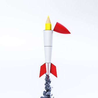 Pencil coming out of the inside of a rocket