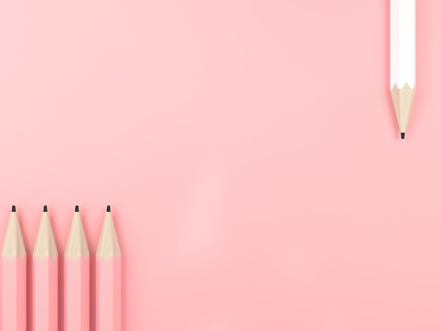 연필 다른 핑크 파스텔 배경입니다. 최소한의 창의적인 아이디어 개념. 3d 렌더링 그림.