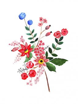Of pencil drawing bouquet flowers in bright colors