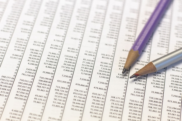 Pencil and financial report,business of financial analysis