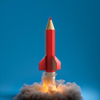 Карандаш в виде ракеты с дымом и пламенем. творчество и концепция запуска. 3d визуализация.