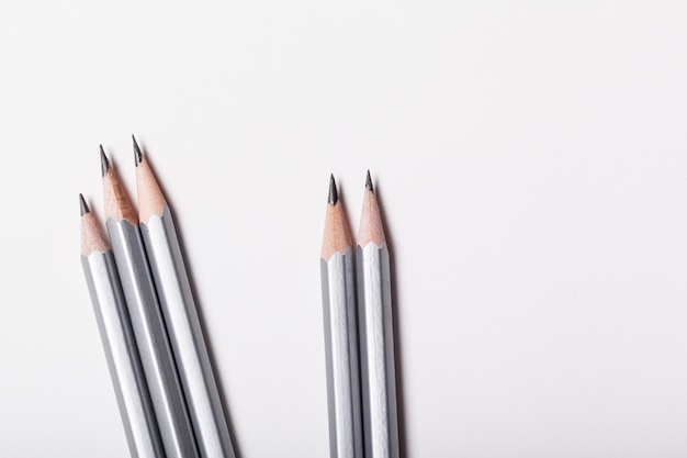 Pencil isolated close up top view