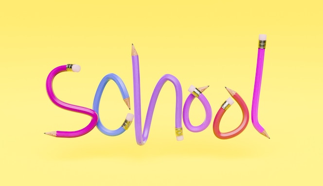 Pencil letters with the word school