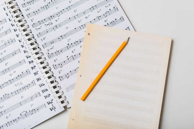 Pencil and mpty pages on sheet music