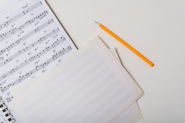 Pencil near sheet music