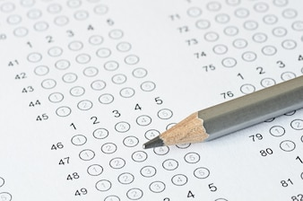 Pencil on blanked answer sheet