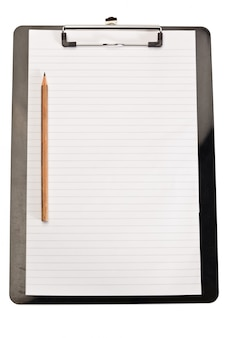 Pencil on the left of note pad