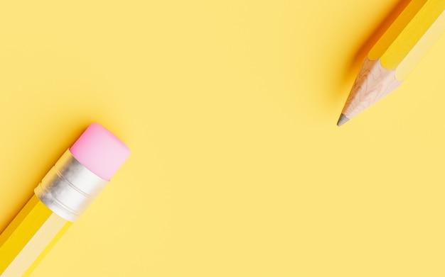 黄色の背景に鉛筆