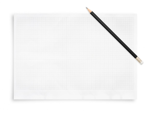 Pencil and paper sheet with grid pattern..