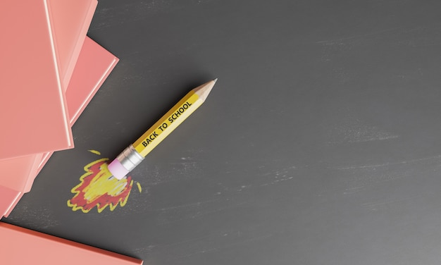 Pencil rocket on a blackboard with drawn fire