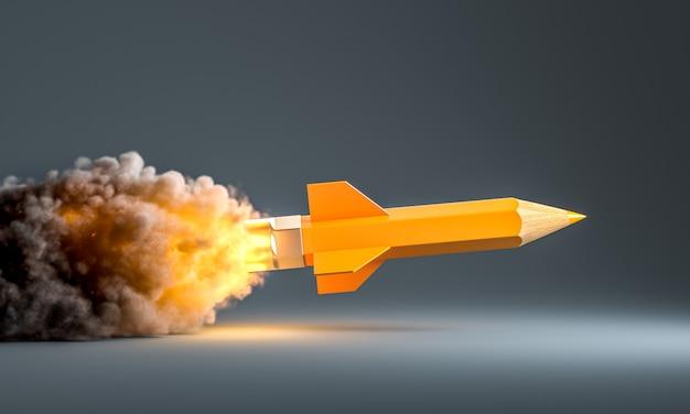 Карандашная ракета с дымом и пламенем взлетает. концепция творчества и мозгового штурма