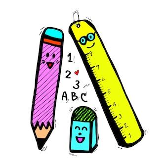 鉛筆定規ゴム、静止した漫画の手描き、漫画のキャラクター