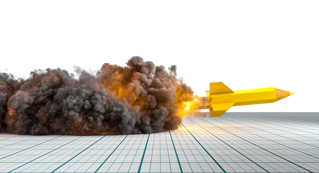 Pencil in the shape of a rocket taking off with flames and smoke. 3d render.