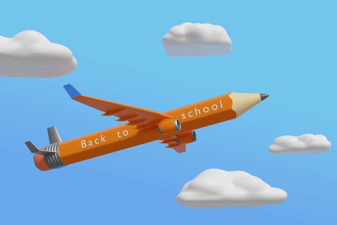 「学校に戻る」というテキストが書かれた鉛筆の形をした平面