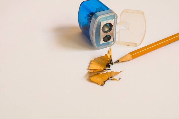 Pencil and sharpener on white