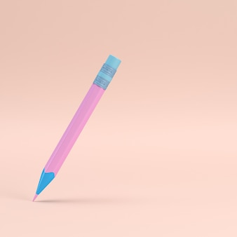 Pencil with eraser on pink pastel with copy space. 3d rendering