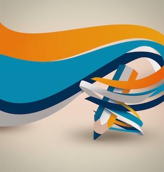 Карандаш с плоскими волнами и линиями на светлом фоне