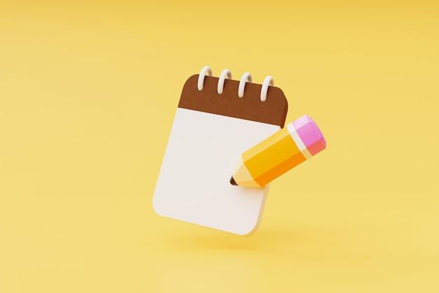 노란색 배경 3d 렌더링에 메모장 아이콘이 있는 연필