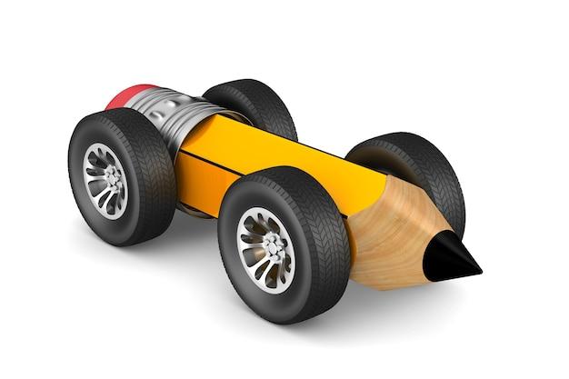 흰색 바탕에 바퀴가 달린 연필. 격리 된 3d 그림