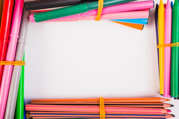 Pencils crayons felt pens of different colours