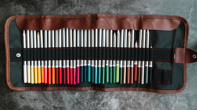 Pencils in leather bag