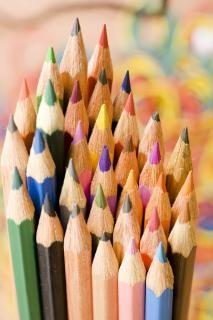 鉛筆、オレンジ