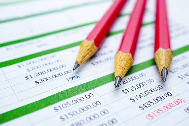 Pencils on spreadsheet table paper finance development, account, statistics investment ana