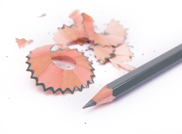Pencils with graphite powder and shavings