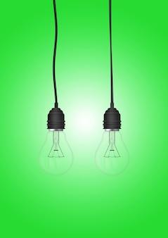 色付きの表面に分離された電球付きのペンダントランプ
