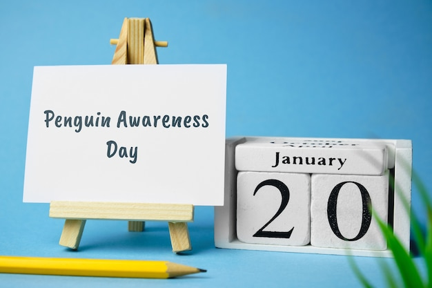 Penguin awareness day of winter month calendar january.