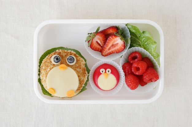 Penguin healthy lunch box, fun food art for kids
