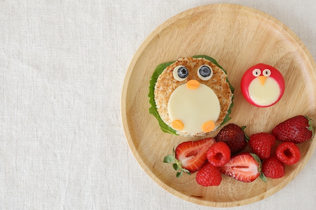 Penguin healthy lunch, fun food art for kids