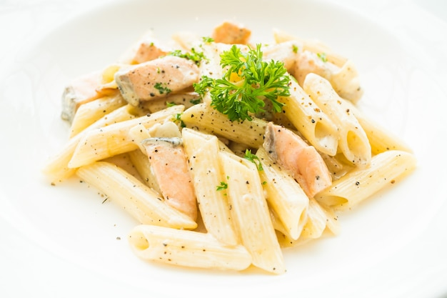 Penne carbonara pasta with salmon
