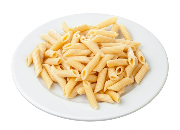 Penne rigate in porcelain bowl isolated