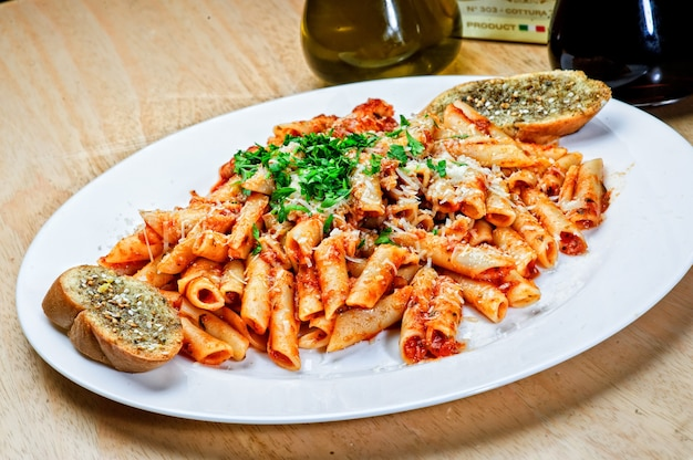 Penne with red tomato .sauce
