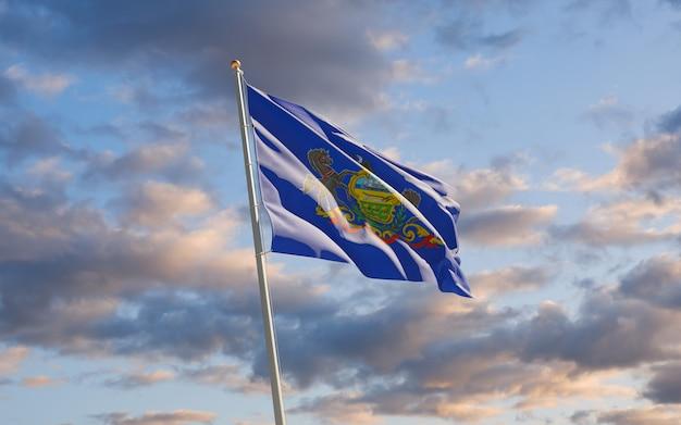 空にペンシルベニア州の州旗