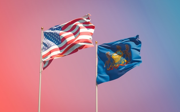 勾配のある空のペンシルベニア州の州旗