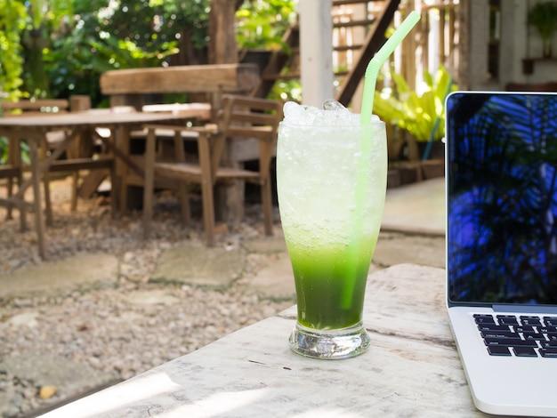 Pennywort juice on wood table