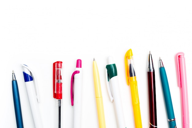 Pens isolated on white background, close up
