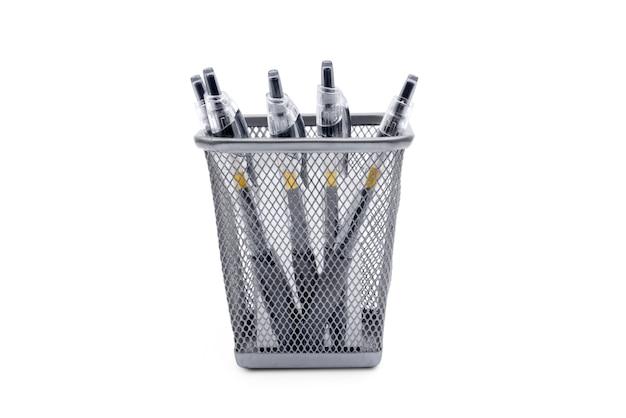 Pens in stationery basket