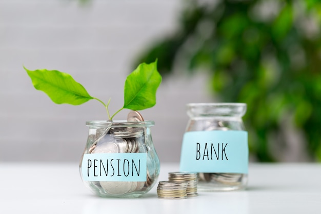 Pension fund and retirement business concept composition