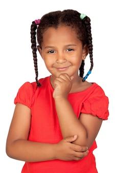 Задумчивый африканская девочка, изолированных на белый