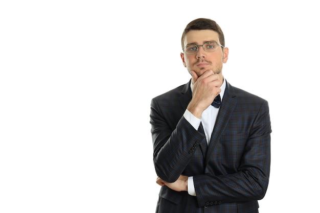 Задумчивый бизнесмен, изолированные на белом фоне, место для текста.