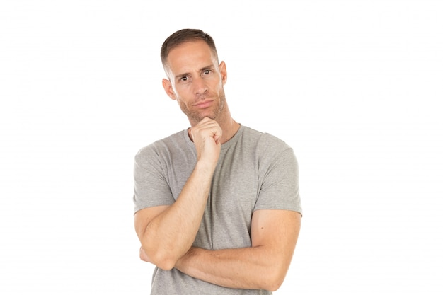 Pensive guy with grey t-shirt