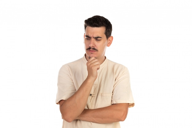 Pensive guy with moustache