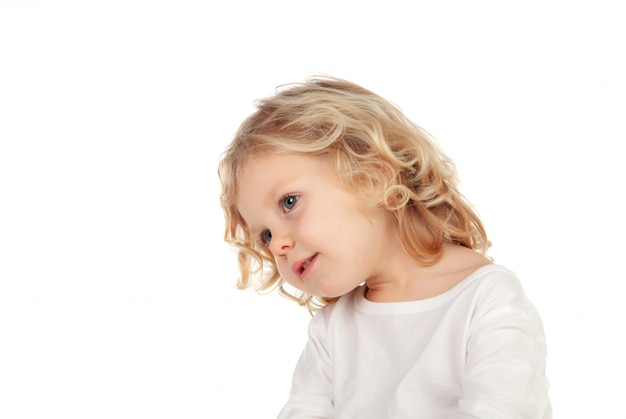 Pensive little child looking up