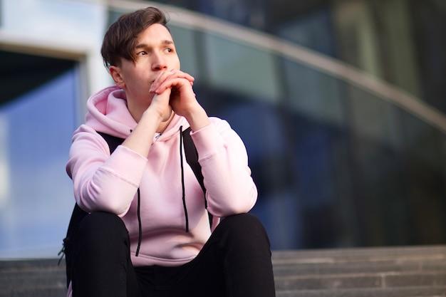 Pensive thoughtful sad guy