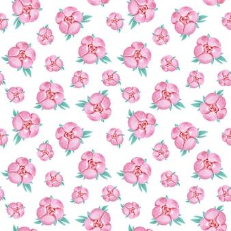 牡丹のシームレスなパターン、背景を繰り返す水彩の牡丹、咲く紙、テキスタイルパターン