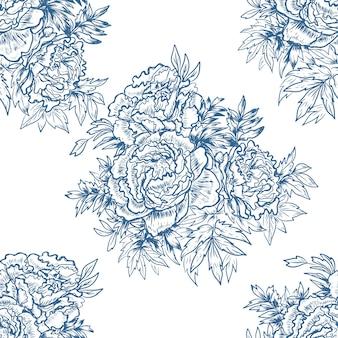 牡丹の花グラフィック手描きイラスト