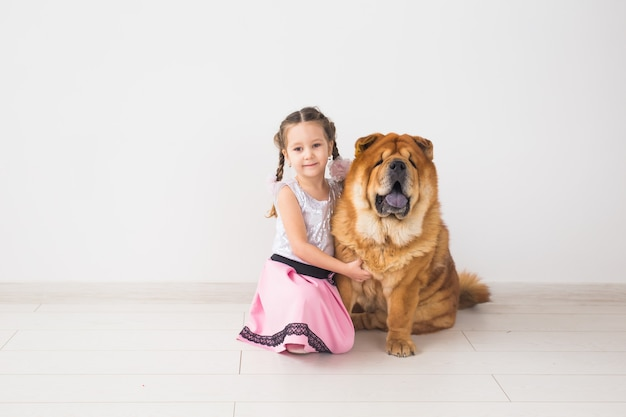 People, animals and children concept - girl with ginger dog of chow-chow on white wall.